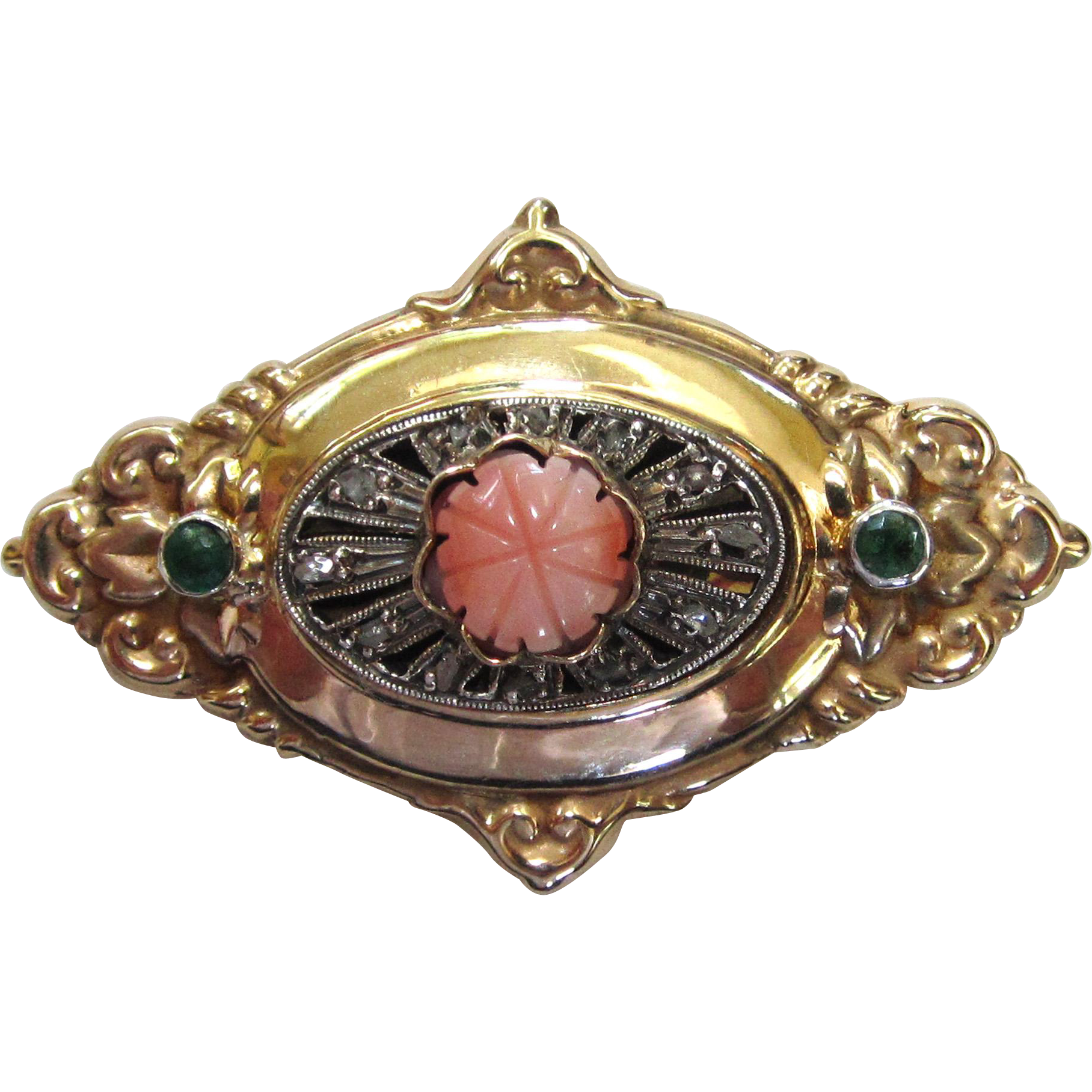 Victorian 14K Yellow Gold Diamond, Emerald, and Coral Brooch/Pin