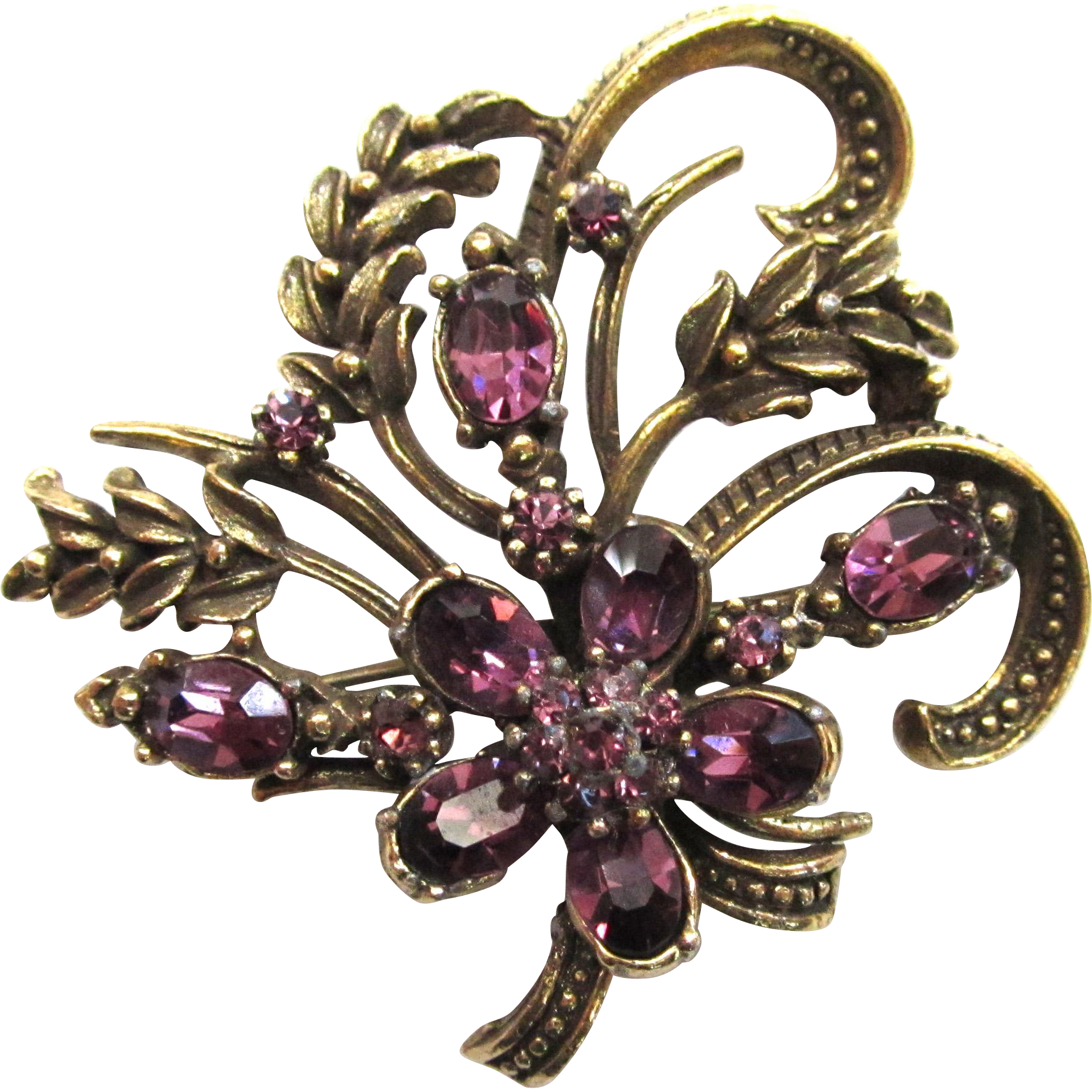 Coro Purple Rhinestone Bronze-Colored Wheat Brooch/Pin