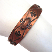 Native American Bell Trading Post Solid Copper Repousse Bracelet