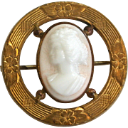 Victorian Pink and White Coral Cameo Brooch/Pin