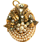 Faux Pearl, Rhinestone and Gold-Tone Locket/Pendant