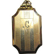 Circa 1930s Gold-Filled Engraved Rectangular Locket