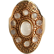 Gold-Tone Faux Moonstone Ring