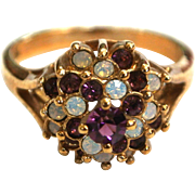 18K Gold Electroplate Purple and Opalescent Rhinestone Princess Ring