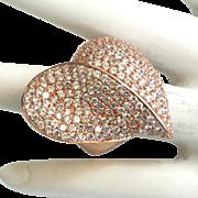 Sterling Silver Vermeil Heart-shaped Rhinestone Ring
