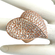 Sterling Silver Vermeil Heart-shaped Rhinestone Ring