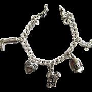 Sterling Silver Cowboy Western Charm Bracelet