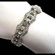 Art Deco Rhinestone Link Bracelet