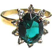 14K Gold Electroplate Faux Emerald Rhinestone Ring