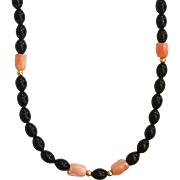Black Bead and Coral Necklace