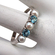 Sterling Silver Blue Topaz Pearl Ring