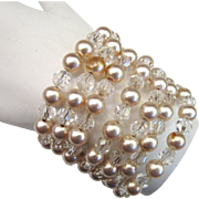 Circa 1950s Faux Pearl and Crystal Wired Bracelet