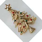Gerry Goldtone and Enamel Christmas Tree Brooch/Pin