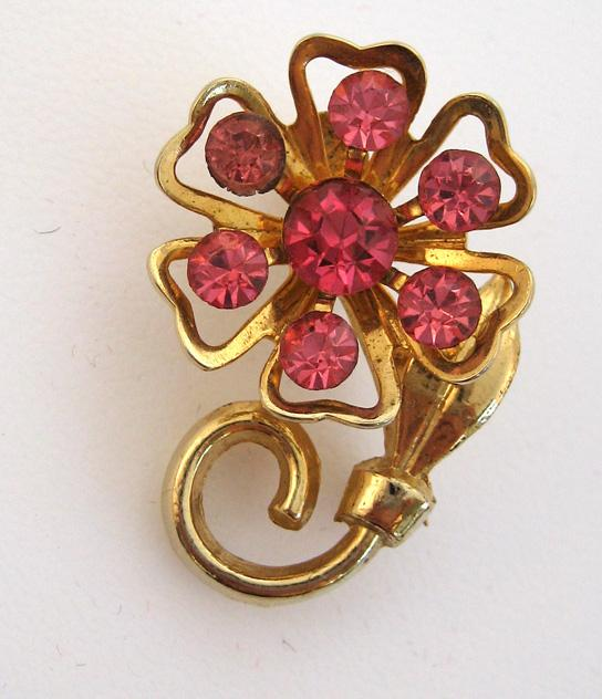 Coro Pink Rhinestone Floral Brooch/Pin