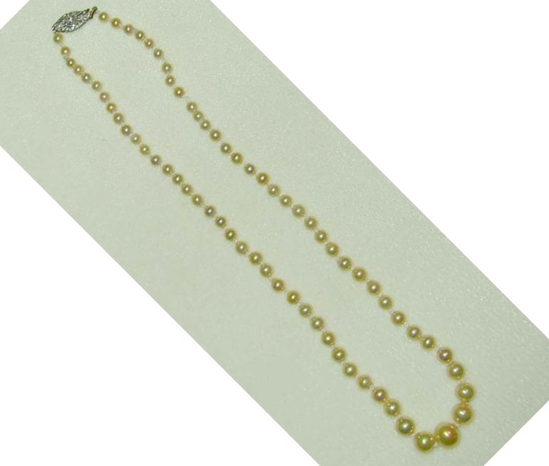 Faux Graduated Pearls with Filigree Floral Rhinestone Clasp