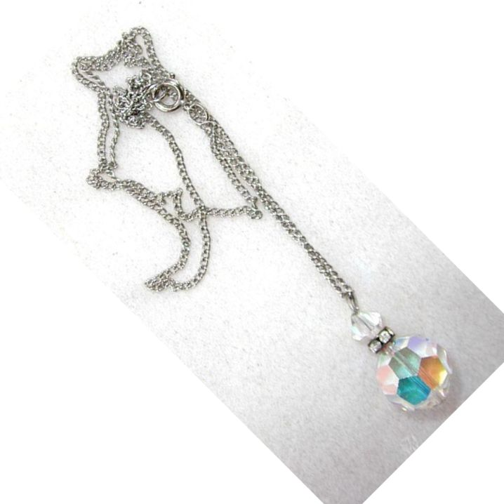 Unsigned Plastic Crystal and Rhinestone Necklace on a Silvertone Chain