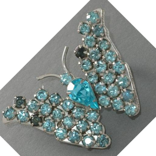 Warner Turquoise Rhinestone Butterfly Brooch/Pin