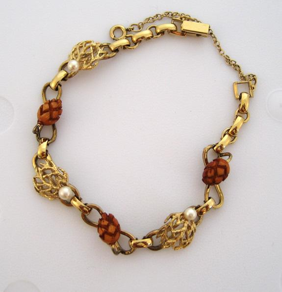 Mark VII Gold-Filled Cultured Pearl and Wood Acorn Bracelet