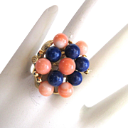 14K Yellow Gold Coral And Lapis Ring