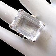 14K White Gold Emerald-Cut Quartz Ring