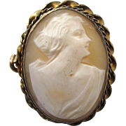 Yellow Gold-Filled Estate Cameo Brooch/Pin