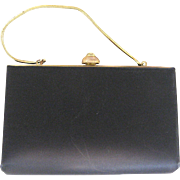 Circa 1950s Harry Levine Black Satin Purse/Clutch