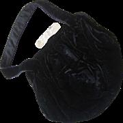 Black Velvet Purse/Handbag with Twisted Lucite Clasp