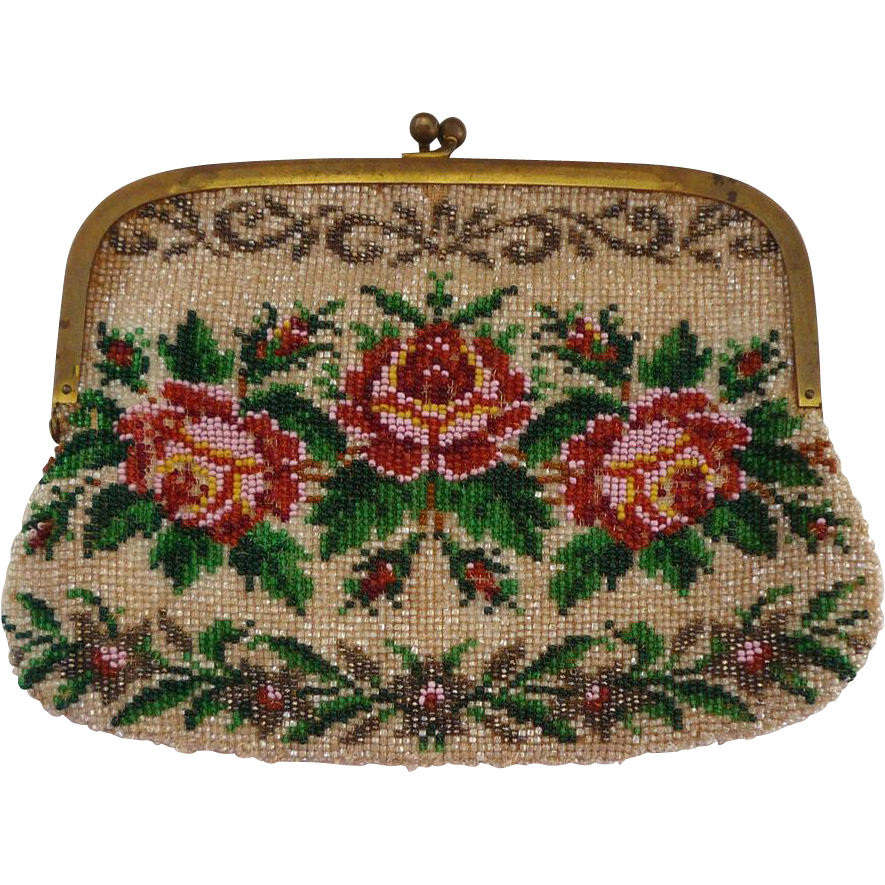 Floral Beaded Clutch Purse