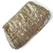 Silver-Tone Mesh Envelope Clutch Purse with Rhinestone Clasp
