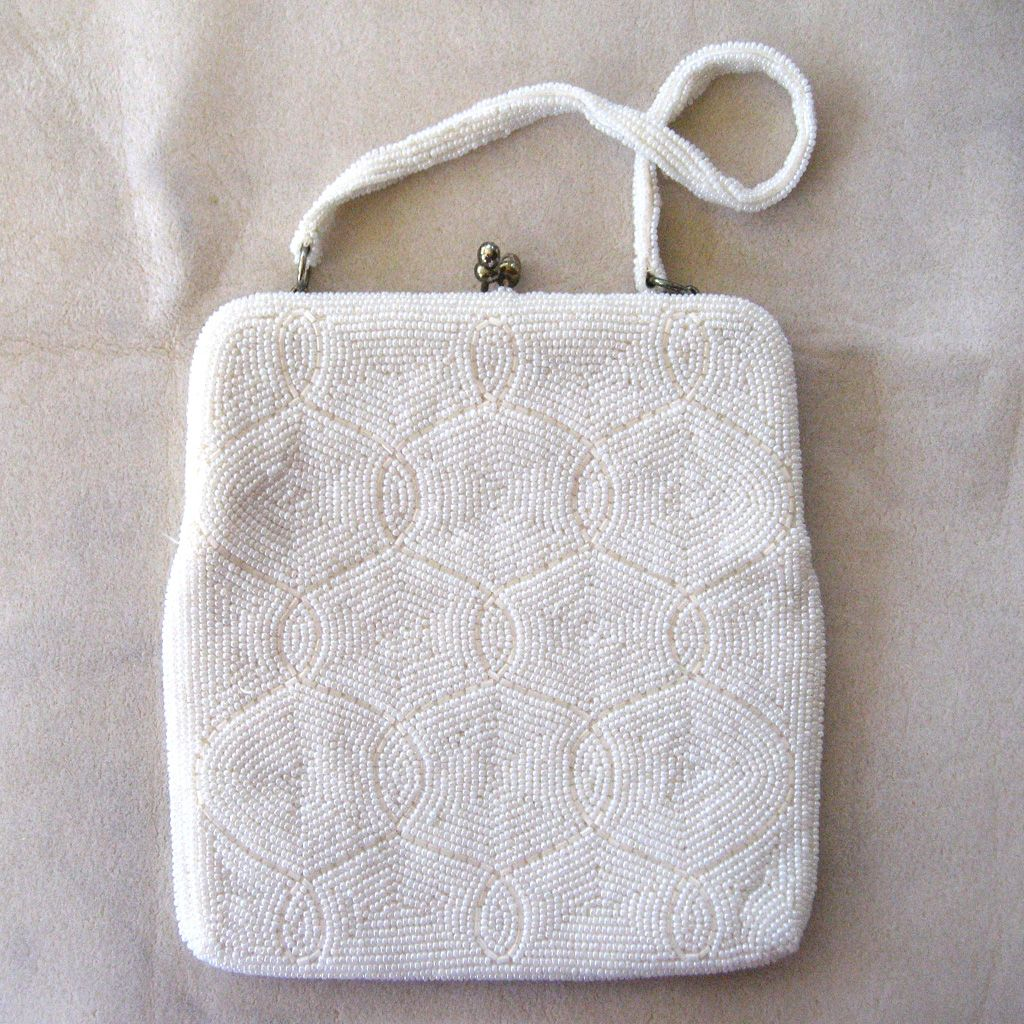 Delill White Beaded Handbag