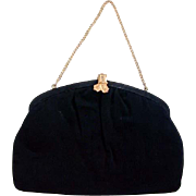 Circa 1940s Black Cloth Bow Clasp Purse/Handbag