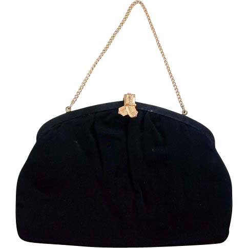 Circa 1940s Black Cloth Bow Clasp Purse/Handbag