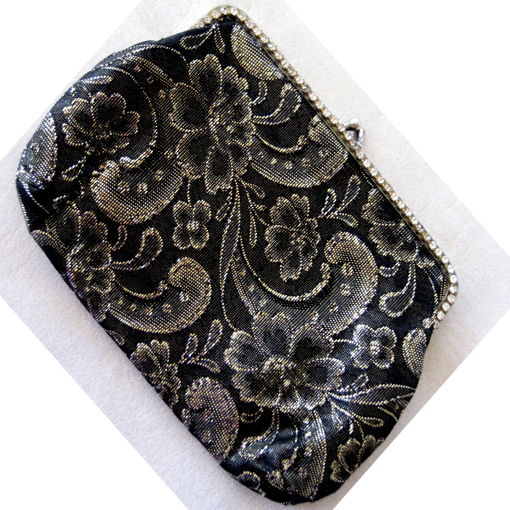 Black and Gold Brocade Rhinestone Clutch/Handbag