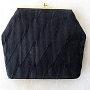 Duizend Gans Parisian Black Purse with Faux Pearl Clasp