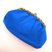 Turquoise Blue Satin Purse with Gold-Tone Floral Rhinestone Frame