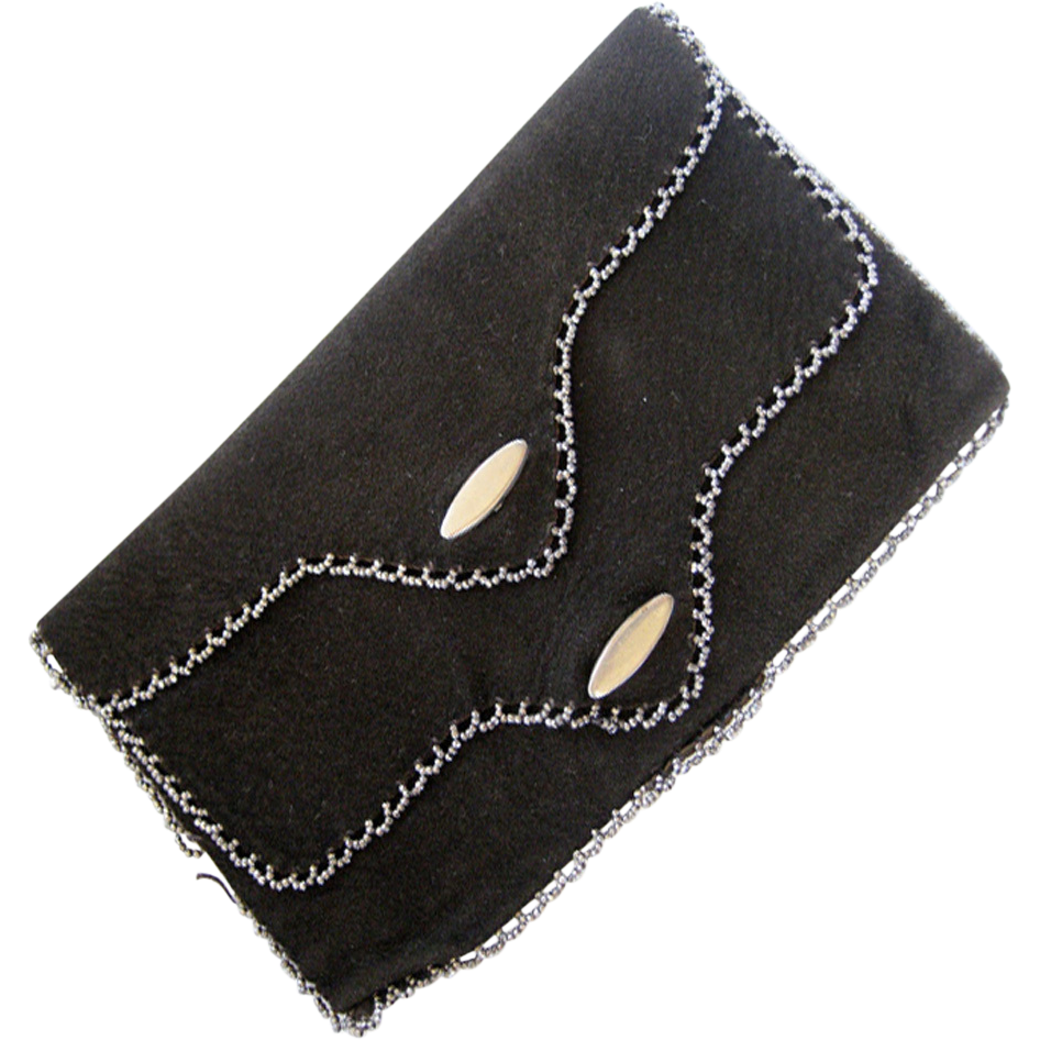 Black Suede Two Layer Purse with Cut Steel Trim