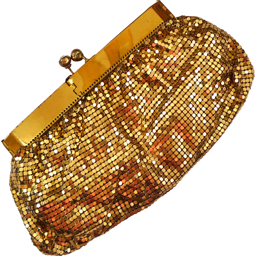 Gate-Neck Mesh Gold-tone Purse with Rhinestone Clasp