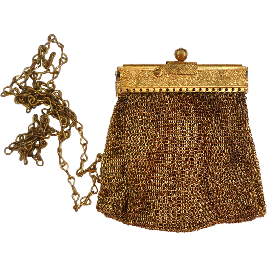 Vintage Small Gold-Tone Fine Metal Mesh Purse