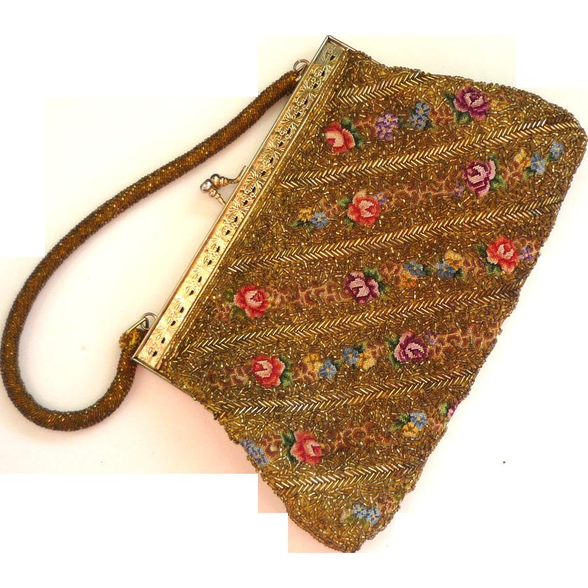 Gold-Beaded Floral Tapestry Handbag/Purse