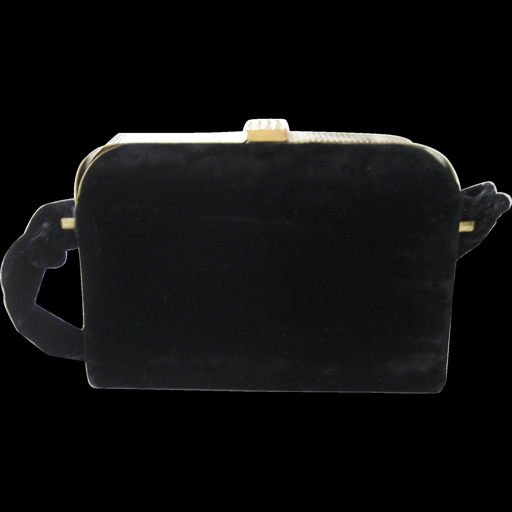 Circa 1940s L&M Spot-Lite Black Velvet Box Purse