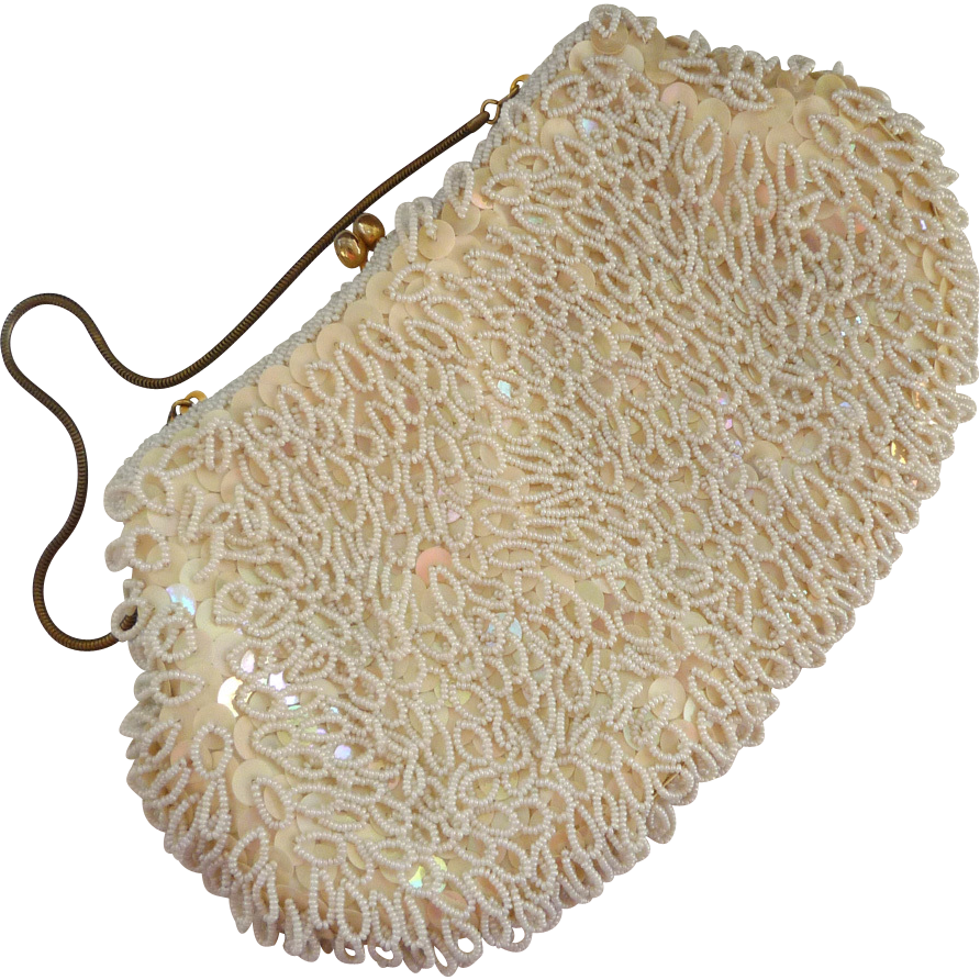 Hong Kong Made Looped Beaded Cream Purse
