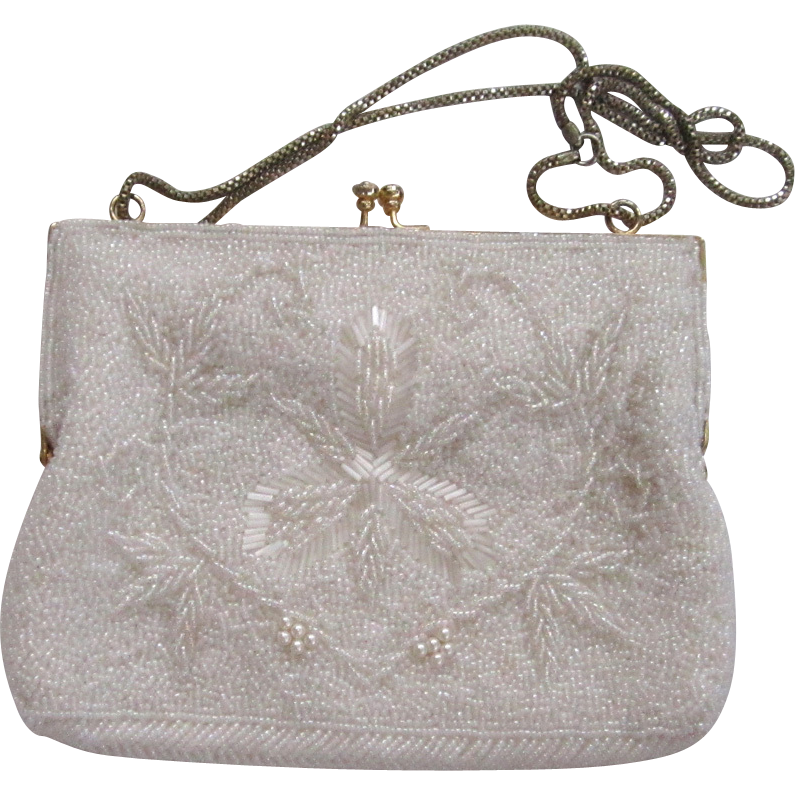 Ed Robinson White Beaded Handbag