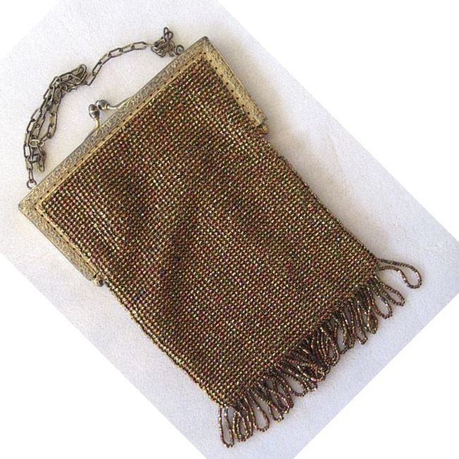 Silk Bronze-Colored Colorful Beaded Fringed Purse