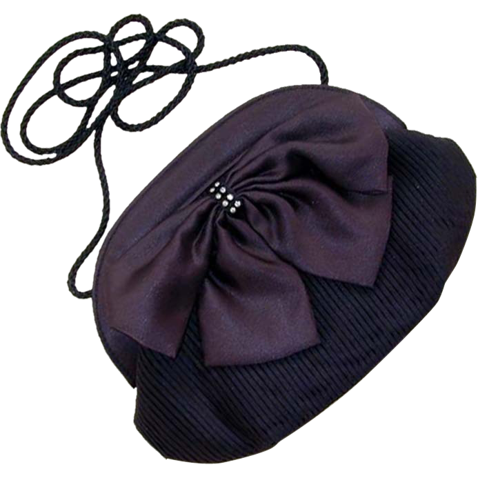 Circa 1970s Magid Black Pleated Bow Purse