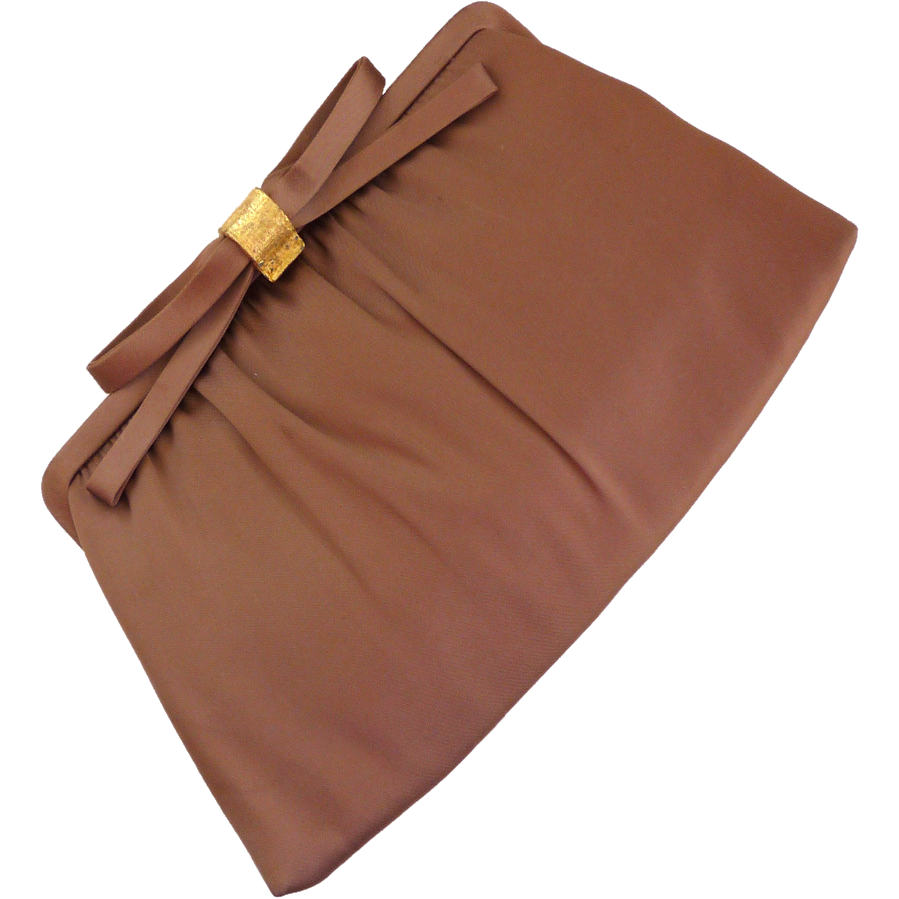 After Five Taupe Bow Clutch Purse