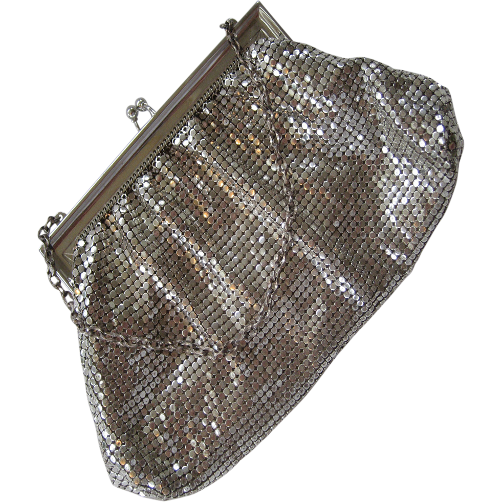 Whiting & Davis Silver-tone Mesh Purse with Mirror Comb