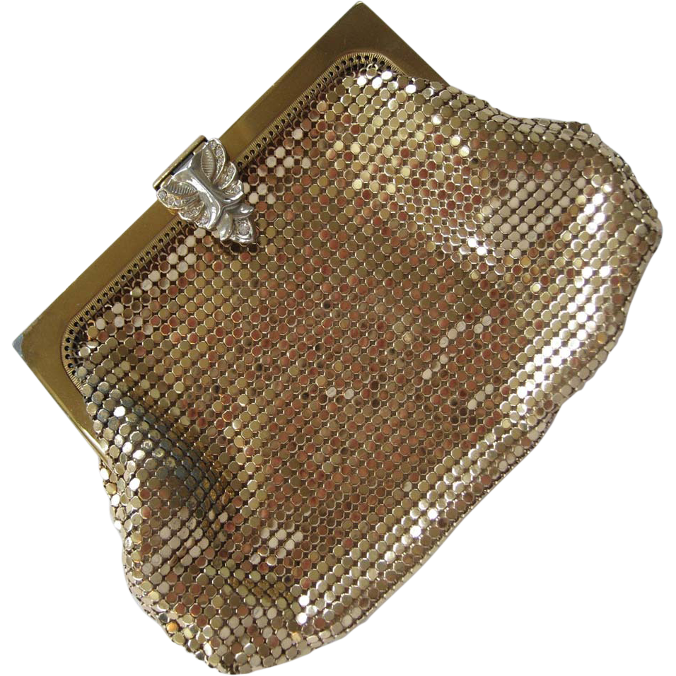 Whiting & Davis Gold-Tone Purse with Rhinestone Clasp