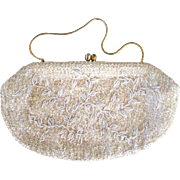 Circa 1950s Hong Kong Made Sequin Beaded White Purse/Handbag