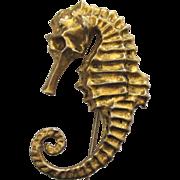 Gold Vermeil Seahorse Brooch/Pin