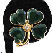 Green Enamel Gold-tone Four Leaf Clover Earrings